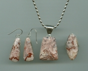 Rosetta Jasper Pendant, Ring and Earrings